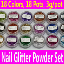18 pcs Nail Art Glitter Powder Set 0.6mm PET Acrylic Decoration Fine Dust UV Gel Shining Crafts 18 Colors with Pots Tiny Bottles