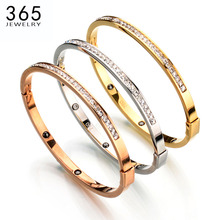 Top Quality Lovely Stainless Steel Charm Bracelets Gold Color Crystal Bangles Jewelry For Women Children Birthday Gift(China)