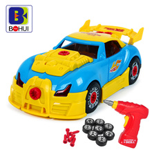 Children's Toy Scale Model Electronic Assembly Kit Racing Car for Baby Boys Plastic Drill DIY Vehicle with Light and Sound D50(China)