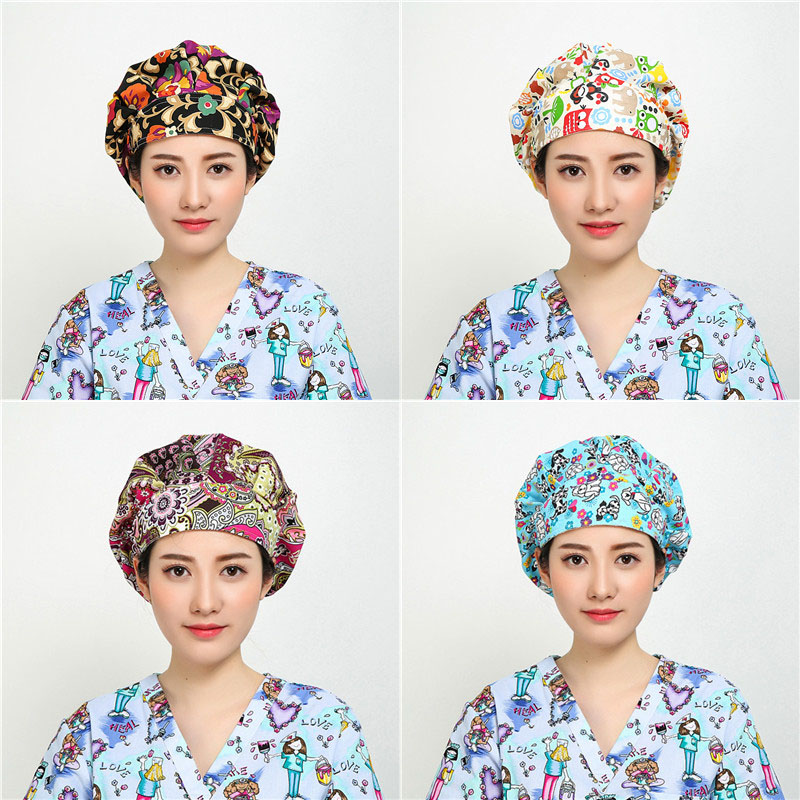 Medical New Beauty Salon Doctor Nurse Scrub Caps Medical Surgical Women Hats With Sweatband Inner For Unisex Clinic Workwear Cap Cotton Traveling Work Wear & Uniforms
