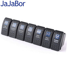 JaJaBor 7Pcs/Lot Luxury Switch with LED Indicator Light Bar ARB Carling Rocker Toggle Switch Blue LED Light Car Boat