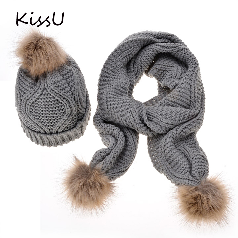 2017 Winter Cap Women Fashion Lady Warm Ski Slouch Hats Casual Cap Knitted Scarf Set 25Одежда и ак�е��уары<br><br><br>Aliexpress