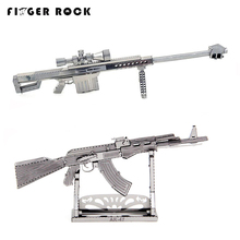 Finger Rock Barrett Sniper Rifle Gun DIY Military Jigsaw Model Building Kits 3D Puzzle Educational Toy Silver Black Color(China)