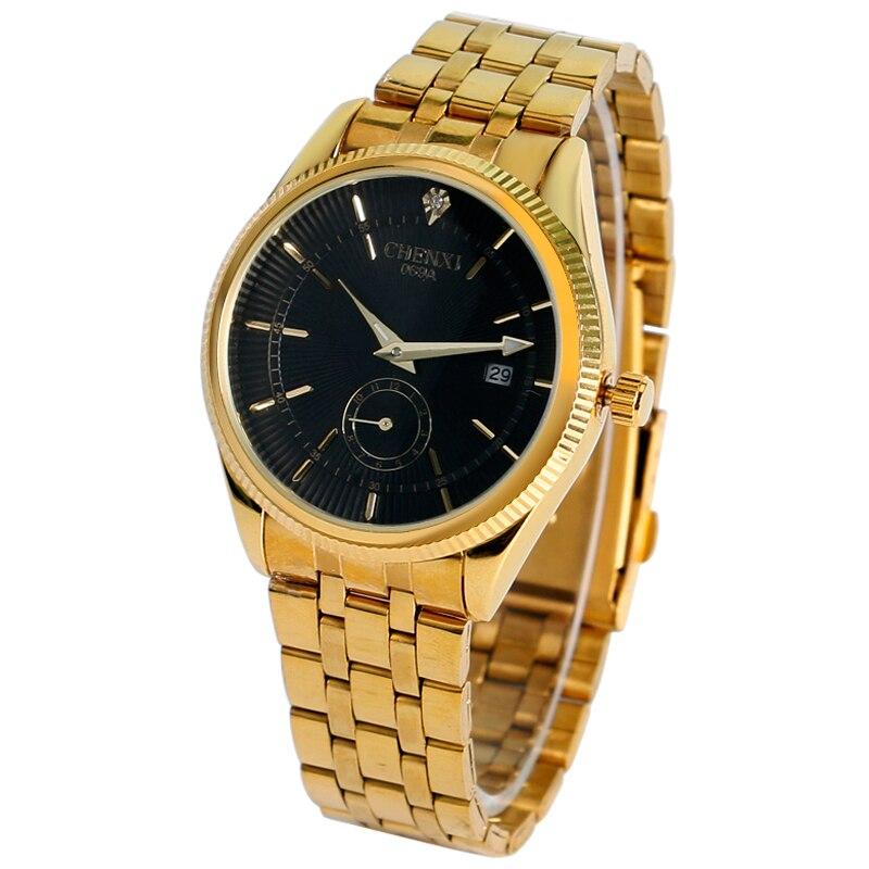 Mens Luxury Business Full Gold Stainless Steel CHENXI Black/White/Gold Dial Dress Wrist Watch Quartz Date Fashion Womens Gift<br><br>Aliexpress
