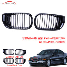 WISENGEAR For BMW E46 Grill Front Lower Bumper Kidney Grille Grill 4Dr Sedan 320i 325i 325Xi 330i 330Xi Facelift 2002 - 2005 C/5(China)
