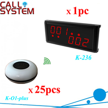 One set 1 display number screen with 25 service buttons Restaurant table call system remote paging equipments free shipping(China)