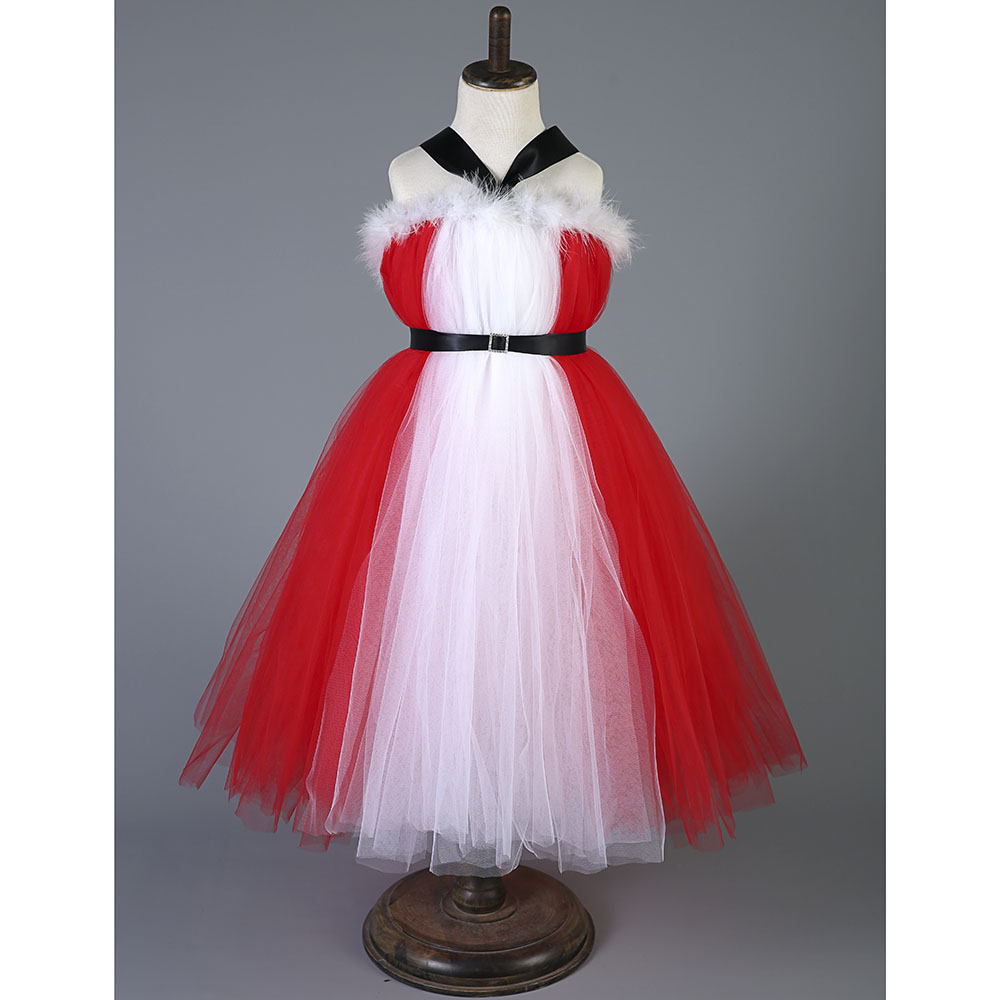 Christmas Halter Girl Tutu Dress With Sash Red Color Children Winter Feather New Year Party Tutu Dresses For Photograph 1-10 Y<br>
