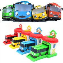 New 4Pcs/set Korean Cartoons Garage Tayo The Little Bus Model Children Mini Tayo Bus Car ABS Baby Toy Vehicles Christmas Gift