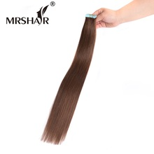 "MRSHAIR 4# Skin Weft Hair Extensions 20pcs 16"" 18"" 20"" 22"" 24"" Tape In Human Hair Dark Brown Non Remy Brazilian Hair On Tape"
