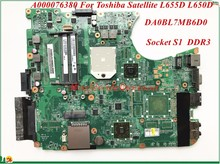 High Quality A000076380 For Toshiba Satellite L655D L650D Laptop Motherboard DA0BL7MB6D0 Socket S1 DDR3 100% Tested