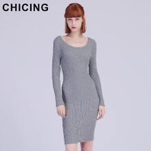 CHICING Casual Autumn Winter Knitted Solid Dress Series 2017 Round Neck Long Sleeve Street Wear Bodycon Sexy Midi Dress A1707038