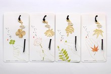 4 PCS/LOT Vintage bookmark Fashion Plant Cutout Maple Leaves Lotus Leaf Clover Dragonfly Metal Bookmark gift box packing(China)