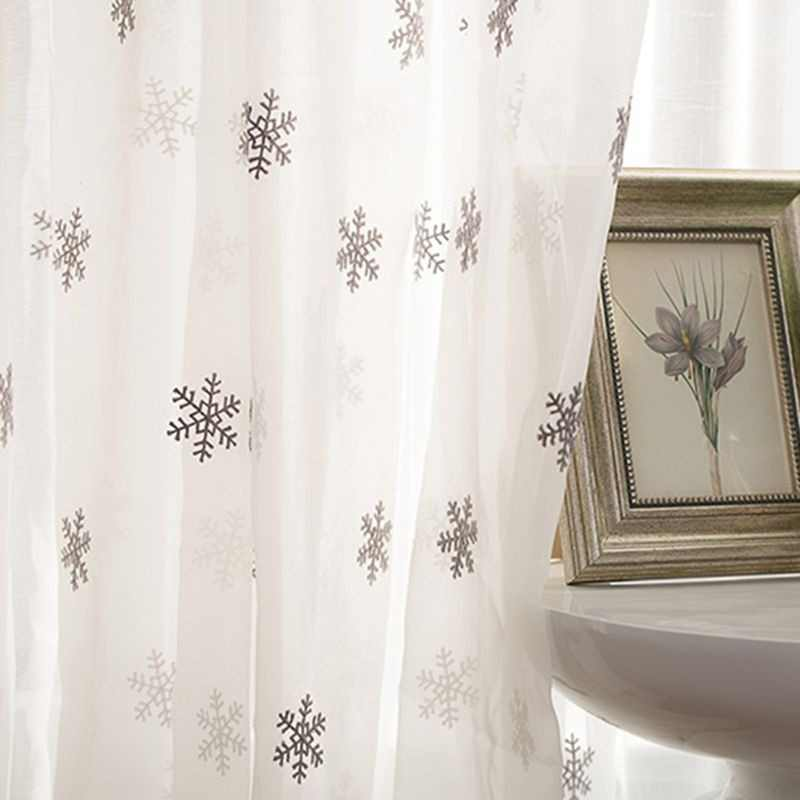 Luxury White Cotton Linen Curtain Fabrics Sheer Christmas Snowflake Embroidery Tulle For Bay Window Living Room Curtains wp157-4