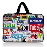 "13 13.3 inch Internet Logos Neoprene Soft Laptop Sleeve Bag Case Computer Cover Pouch with Handle For 13.3"" Apple MacBook pro 5F"