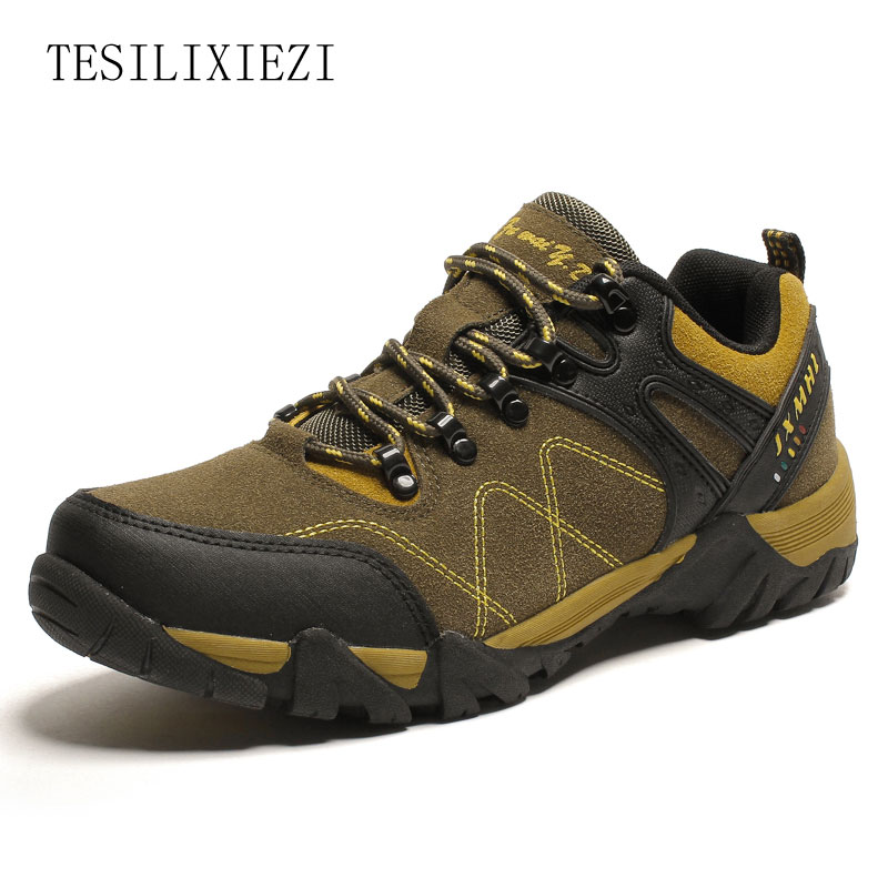 2017 Men Hiking Shoes Windproof Waterproof Trekking Genuine Leather Shoes Climbing Fishing Shoes Breathable Outdoor Shoes<br><br>Aliexpress