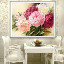 DPF hot Diamond Embroidery & Round Diamond Painting Cross Stitch Peony flowers Kits Full Diamond Mosaic Home Decor picture