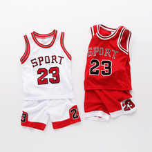 1-9 Age Children Sport Clothing Set Summer Kids Boys Basketball Tracksuit Sleeveless Vest And Shorts Baby Outfits Boy Twinset(China)