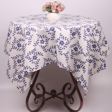 Traditional Blue and White China Flower Linen Cotton Rectangular Tablecloth / Vintage Florets Family Party Table Covers(China)
