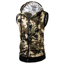 Fashion Camouflage Hoodie Vest Men Sleeveless Vest Summer Autumn Mens Zip Sweatshirts Casual Cotton Tee Shirt Plus Size L-3XL