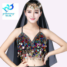Belly Dance Costume Bra Top Halter Sequined & Coins Clubwear Indian Oriental Bellydance Bollywood Carnival Halloween Outfits(China)