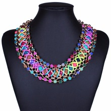CDN085 New Statement Rainbow Colorful Necklace For Women Boho Weaving Rainbow Fiber Multi Color Collar Choker Necklace Jewelry(China)