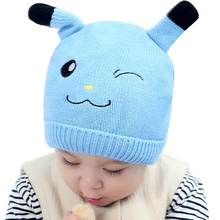 Knitted Baby Beanie Hat Cartoon Baby Hat For Girls Boys Crochet Autumn Newborn Baby Beanie With Ears Cute Patterns Baby Hats(China)