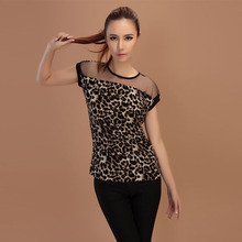 Fashion Women Leopard Printed Chiffon Shirts Cap Sleeve Slim Tops Casual Blouse