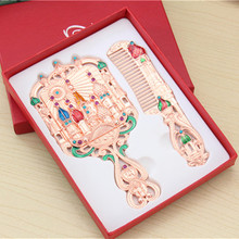 Rhinestone chic retro vintage ladies pocket mirror castle pattern hand mirror christmas gifts mirror comb set