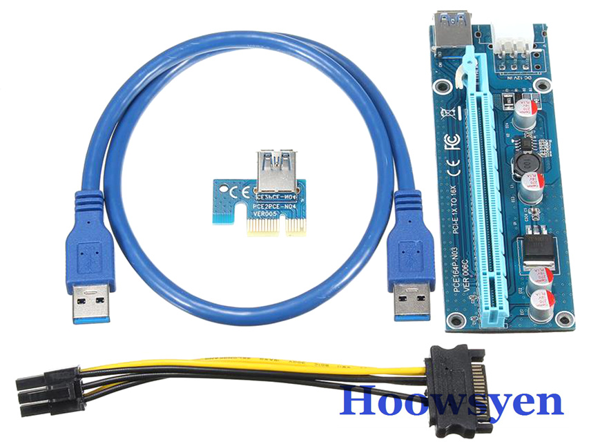 mining Riser PCI-E express riser card 1X to 16X +USB 3.0 Extender Cable SATA 15Pin-6Pin Power Cable 60CM for bitcoin case 5pcs<br>