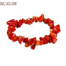 KCALOE Red Coral Bracelets Bangles Fashion Elasticity Irregular Natural Stone Charm Bracelet Women Accessories Bracciale Donna(China)