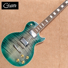 New style high-quality custom LP electric guitar, Green&blue Flame Maple Top Rosewood fingerboard electric guitar, free shipping