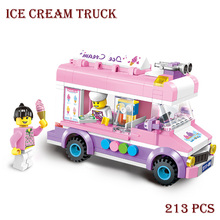 Enlighten Style 213 Pcs Building Blocks Ice Cream Truck Educational Mobile Ice Cart Bricks Gift Compatible With Lego City Truck