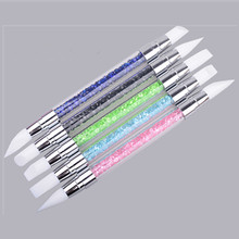 1pc Nail Art Carving Sculpture Painting Brush Pen 2-Ways Silicone Hollow Engraving Nail Art Manicure Tool(China)