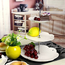 1Set 2/3 Tiers Wedding Party Cake Display Crown Handle Metal Cake Plate Stand