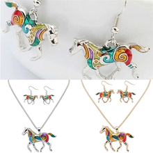 Lovely Rainbow Horse Necklace And Earring Set Painting Art And Resin Jewelry Bohemia Style For Women Girls 1 Set