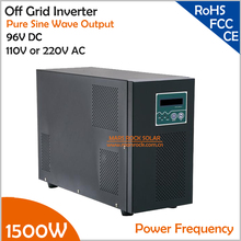 Power Frequency 1500W 96V DC to AC 110V or 220V Pure Sine Wave Off Grid Inverter with City Grid Charge Function