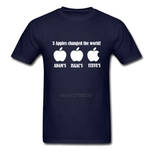3 Apples Changed The World Adam Isaac Steve Plus Size Clothing T Shirts Men Short Sleeve Shirts 100% Cotton Men Cool Shirt(China)