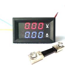 DC Dual display panel Meter Volt amp meter DC 100V/100A Double Color Blue/Red LED Voltmeter Ammeter + 100A Shunt(China)