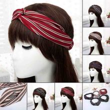 fashion Women striped Knot Headband Soft Cross Hairband lady Turban Adult Knitted Wide Twisted Hair Accessories Elastic Headwrap