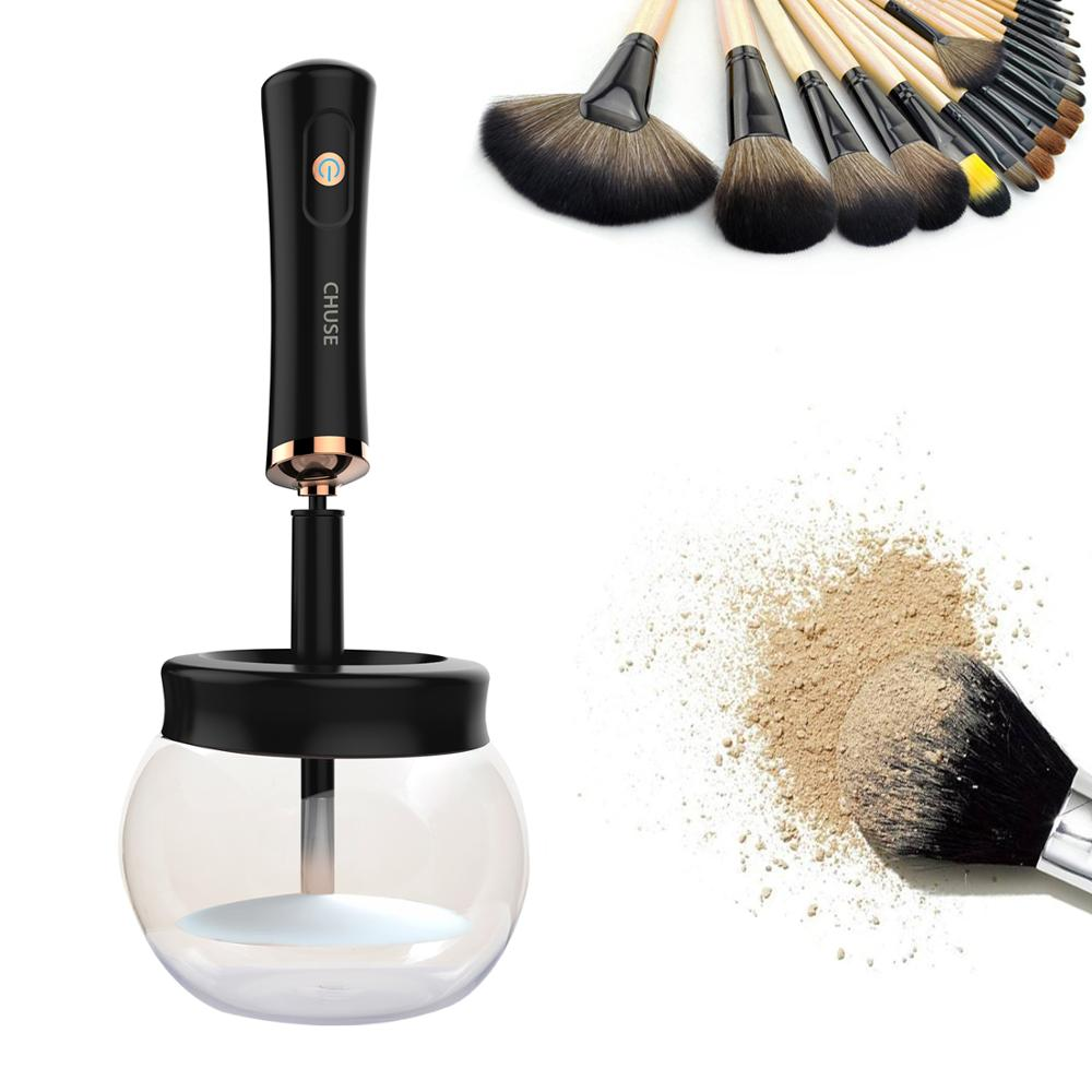 CHUSE Makeup Brush Cleaner and Dryer Machine, with 8 Rubber Holders, Suit for Almost size Makeup Brushes<br>