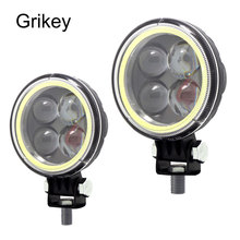 Grikey 2pcs Headlights Angel Eye Spot Offroad Led Work Light Car Truck Motorcycle 4x4 ATV SUV Boat Driving Fog Lamp
