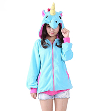 New Autumn winter Unicorn Women Hoodies Sweatshirts Blue Pink Hoodie Zipper Cosplay Cute Animal Unicornio female sweatshirt(China)
