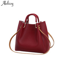 defd34d711 (Ship from US) Aelicy Fashion Colorful Bucket Bag Women High Quality Pu  Leather Shoulder Bag 2019 New Design Hasp Solid Fake Designer Handbags
