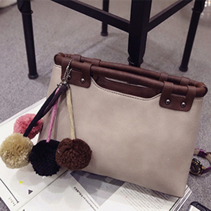 2017 Fashion Women Bag Patchwork Clutch Bags Leather Handbags Tote Hairball Female Bag  <br>