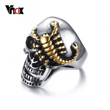 Vnox Men's Skull Bone Biker Rings Punk Scorpion Stainless Steel Male Retro Jewelry Halloween Undead Decorations Accessory(China)