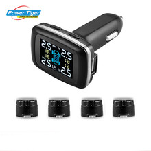 Car TPMS Tire Pressure Monitoring System with Pressure Warning System and USB Charging Port and Voltage Display