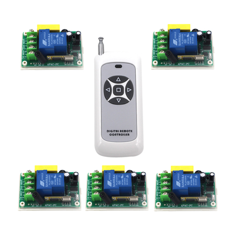 RF AC 220V 30A 1 Channel 5 Relay Wireless Learning Remote Control Switch Black&amp;White Transmitter 4087<br>
