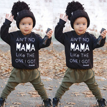 Baby Boy Clothing Set Newborn Black MAMA Letters Long Sleeve Pullover Tops+Casual Active Harem Pants Army Green Infant 2pcs Suit