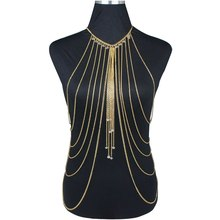 Body Jewelry Fashion Gold Color Body Belly Waist Chain Harness Necklace Womens Sexy Bikini Multilayer Body Chain Necklaces
