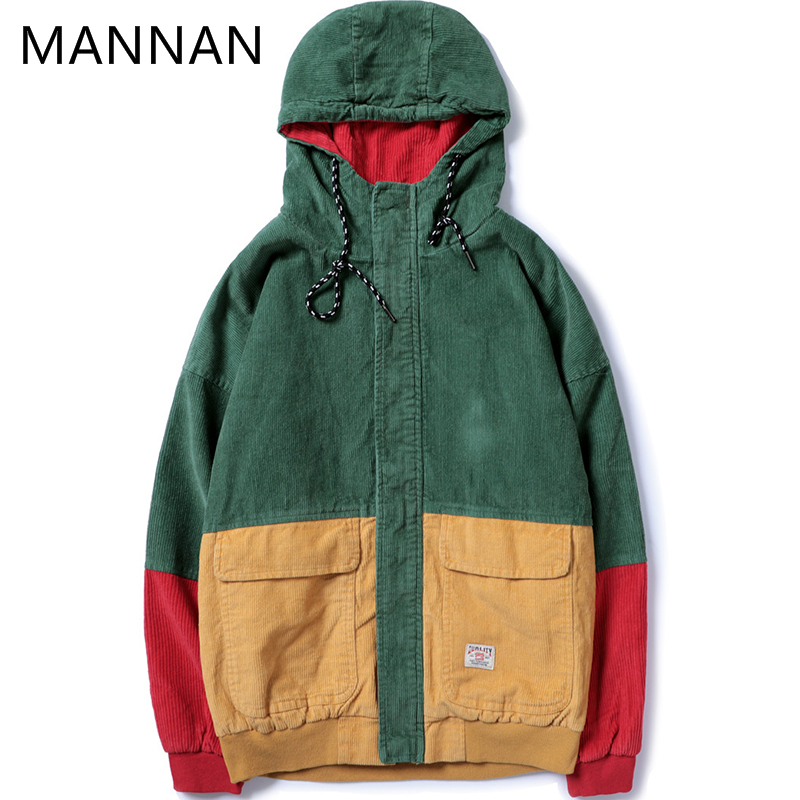 Hip Hop Hoodie Loose Jacket Men Winter Corduroy Jacket Harajuku Red Patchwork Autumn Hooded Bomber Jacket Coat Reggae Jamaica
